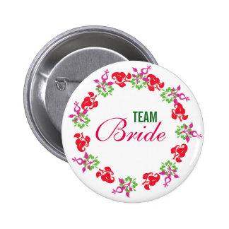 Custom Modern Wreath Wedding Team Bride Buttons