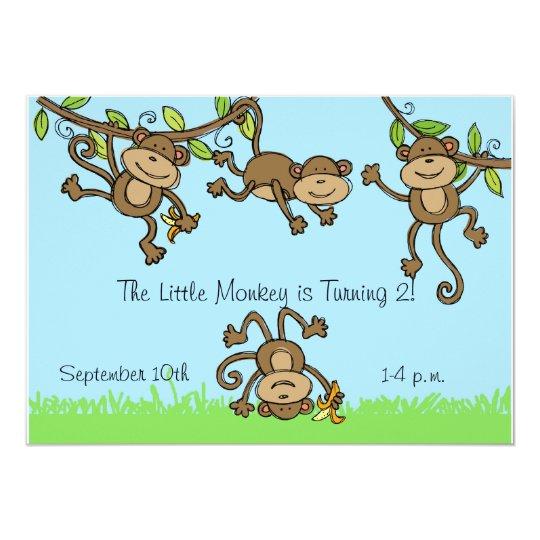 Custom Monkey Around Animals Birthday Invitation