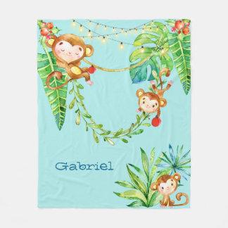 Custom Monkey Kids in Tropical Christmas Jungle Fleece Blanket