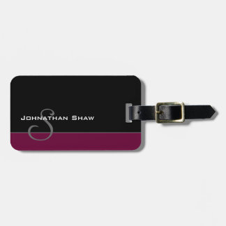 Custom Monogram 5 (Burgundy) Luggage Tag