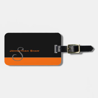 Custom Monogram 5 (Orange) Luggage Tag