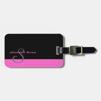 Custom Monogram 5 (Pink) Luggage Tag