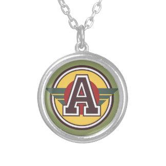 """Custom Monogram """"A"""" Initial Round Pendant Necklace"""