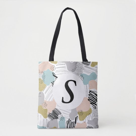 Custom Monogram Abstract Pastel Tote Bag