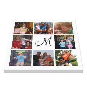 Custom monogram and family colour photo collage canvas print