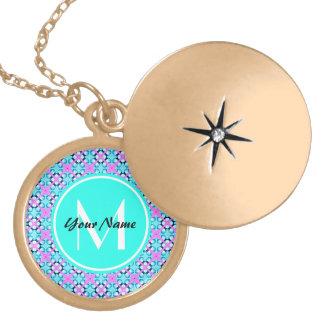 Custom Monogram Aqua and Pink Pattern Background Locket