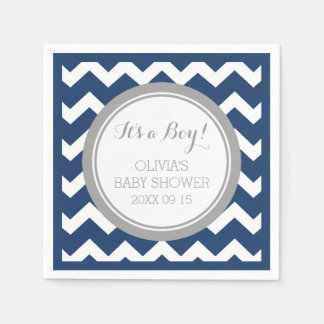 Custom Monogram Baby Shower Blue Grey Napkin Paper Napkins