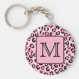 Custom Monogram. Black and Pink Leopard Print. Basic Round Button Key Ring
