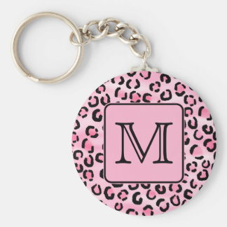 Custom Monogram. Black and Pink Leopard Print. Key Ring
