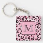 Custom Monogram. Black and Pink Leopard Print. Key Ring