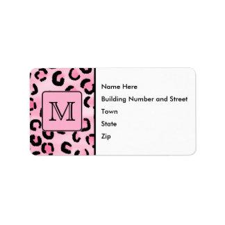 Custom Monogram. Black and Pink Leopard Print. Label