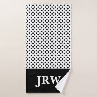 Custom Monogram Black and White Bath Towel Set