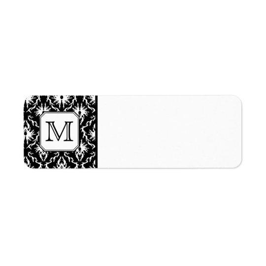 Custom Monogram. Black and White Damask Pattern.