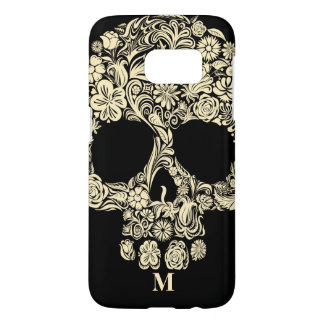 Custom Monogram Black and White Floral Sugar Skull
