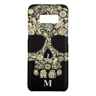 Custom Monogram Black and White Floral Sugar Skull Case-Mate Samsung Galaxy S8 Case