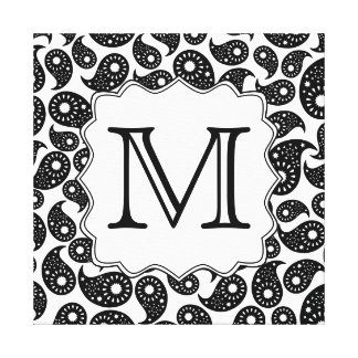 Custom Monogram. Black and White Paisley Pattern. Canvas Print