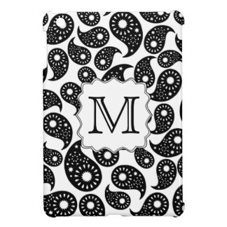 Custom Monogram. Black and White Paisley Pattern. Cover For The iPad Mini