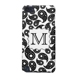 Custom Monogram. Black and White Paisley Pattern. iPod Touch (5th Generation) Cover