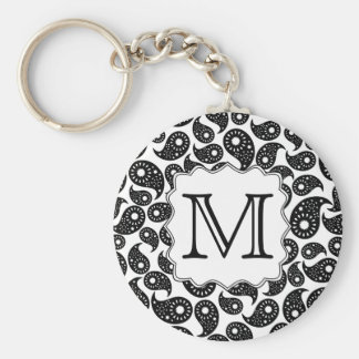 Custom Monogram. Black and White Paisley Pattern. Key Ring
