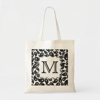 Custom Monogram. Black and White Paisley Pattern. Tote Bag