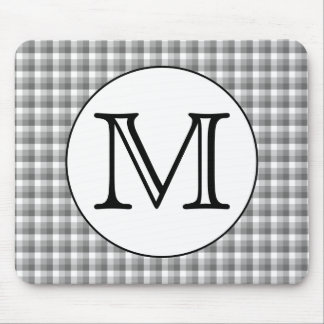 Custom Monogram. Black and White with Gray Check. Mouse Pad