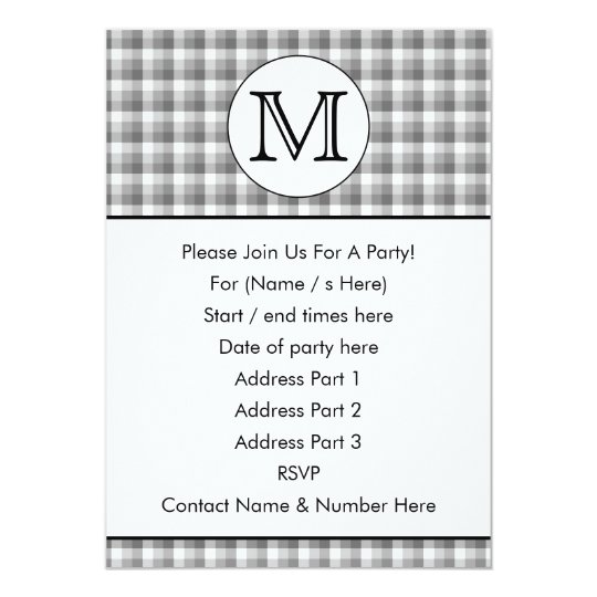 Custom Monogram. Black and White with Grey Check. Card