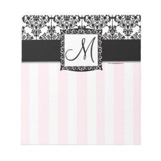 Custom Monogram Black Damask Pink Stripes Notepad