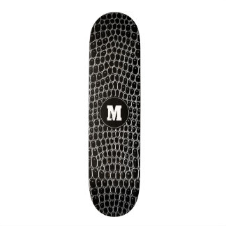 Custom Monogram Black Faux Crocodile Skin Skate 21.6 Cm Old School Skateboard Deck