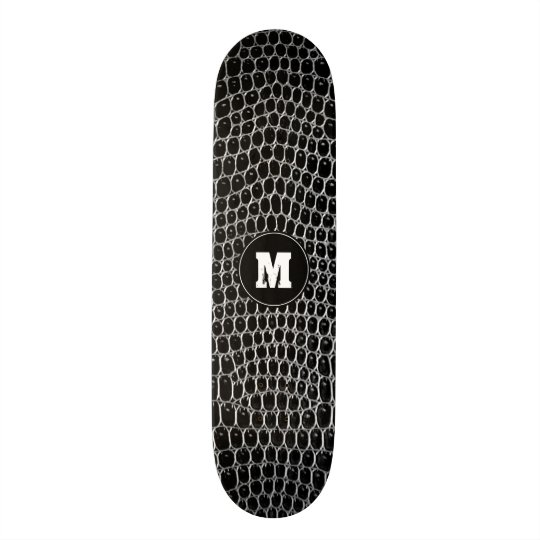 Custom Monogram Black Faux Crocodile Skin Skate 21.6