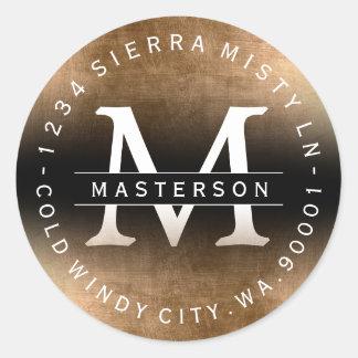 Custom Monogram Black Gold Return Address Label Round Sticker