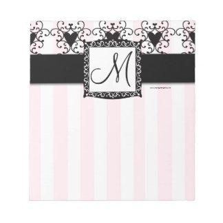 Custom Monogram Black Hearts Pink Stripes Notepad