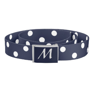 Custom Monogram Blue and White Polka Dot Belt
