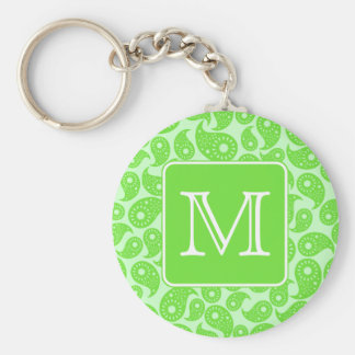 Custom Monogram. Bright Green Paisley Pattern. Key Ring