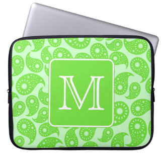 Custom Monogram. Bright Green Paisley Pattern. Laptop Sleeve
