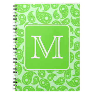 Custom Monogram. Bright Green Paisley Pattern. Notebook