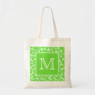 Custom Monogram. Bright Green Paisley Pattern. Tote Bag