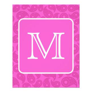 Custom Monogram. Bright Pink Paisley Pattern. 11.5 Cm X 14 Cm Flyer