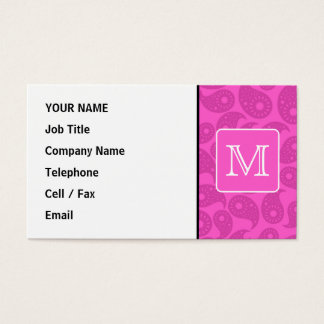 Custom Monogram. Bright Pink Paisley Pattern. Business Card