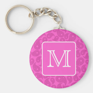Custom Monogram. Bright Pink Paisley Pattern. Key Ring