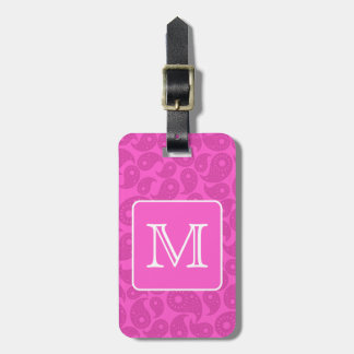 Custom Monogram. Bright Pink Paisley Pattern. Luggage Tag