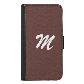 Custom Monogram Brown Vintage Leather Print Samsung Galaxy S5 Wallet Case