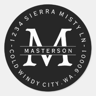 Custom Monogram BW Circular Return Address Label Round Stickers