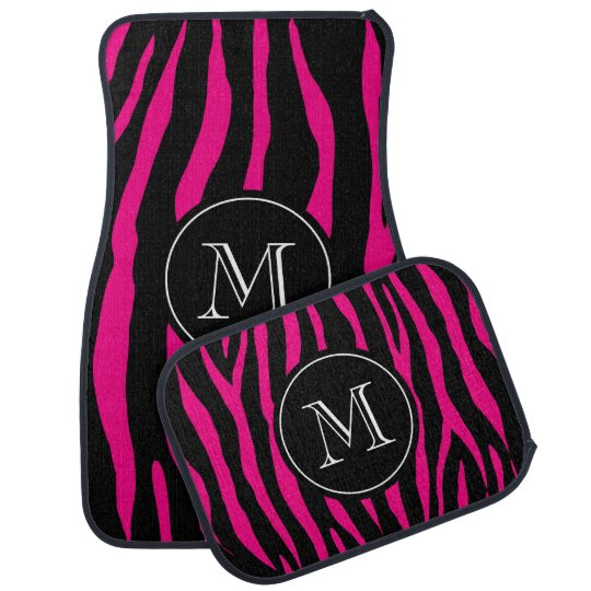 Custom monogram car mat set | hot pink