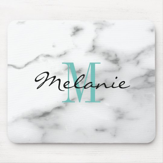 Custom monogram chic white marble stone mouse pad