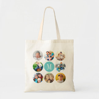 Custom Monogram Circle Frame Photo Collage Budget Tote Bag