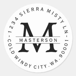 Custom Monogram Circular Return Address Label Round Sticker