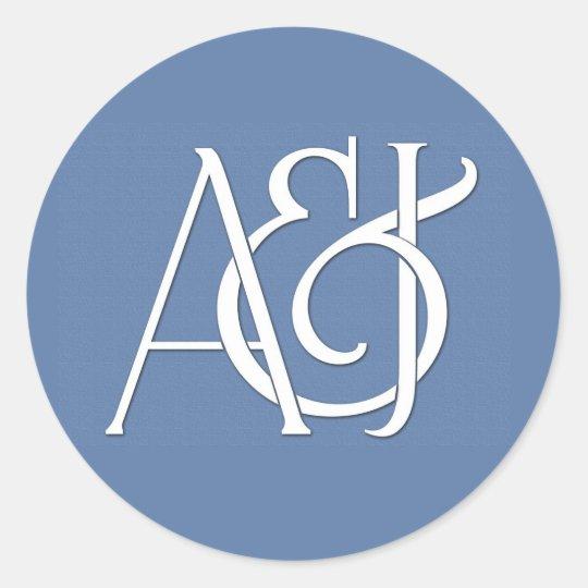 custom monogram classic round sticker