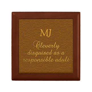 "Custom monogram ""Cleverly Disguised"" gift boxes"