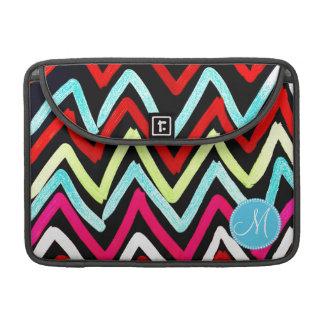 Custom Monogram Colorful Chevron Tribal Zigzags MacBook Pro Sleeve