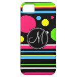 Custom Monogram Colourful Neon Stripes Polka Dots iPhone 5 Case